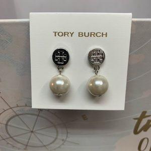 New Tory Burch Faux Pearl Earrings Silvertone